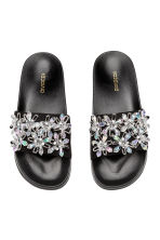 Slides with decorative details - Black - Ladies | H&M CA 2