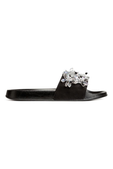 Slides with decorative details - Black - Ladies | H&M CA 1