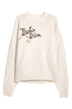Fine-knit jumper - Beige marl/Birds - Ladies | H&M CN 2