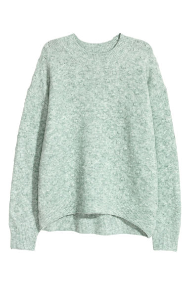 Textured-knit jumper - Light turquoise - Ladies | H&M CN