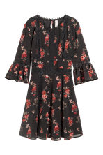 Crêpe dress - Black/Roses - Ladies | H&M 2