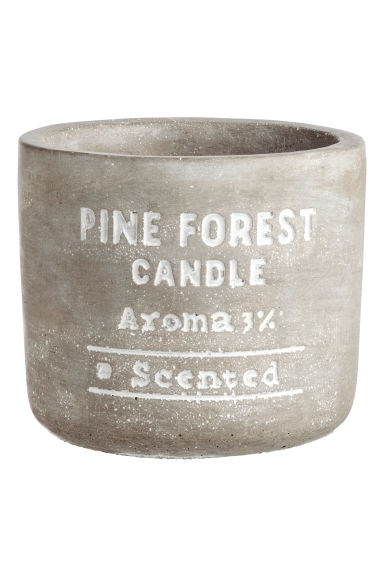 Candle in a concrete holder - Light grey/Pine forest - Home All | H&M GB 1