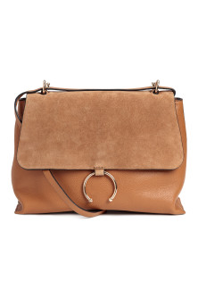 Shoulder bag with suede detail