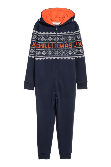 Sweatshirt all-in-one suit - Dark blue/Patterned - Kids | H&M CN