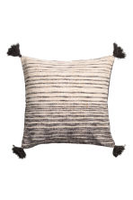 Tasselled cushion cover - Anthracite grey/White - Home All | H&M CN 1