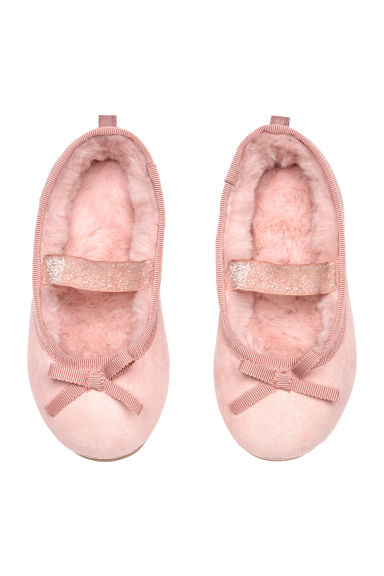 Pile-lined slippers - Powder pink -  | H&M