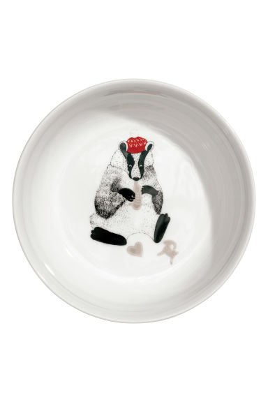 Christmas-motif porcelain bowl - White/Raccoon - Home All | H&M IE 1