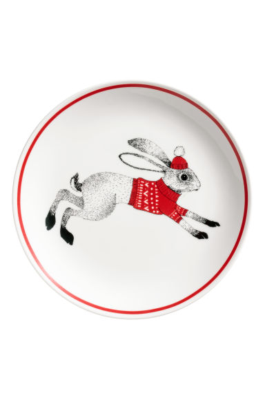Christmas-motif plate - White/Hare - Home All | H&M CN 1