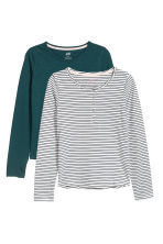 2-pack tops - Dark blue/White striped - Kids | H&M CN 2