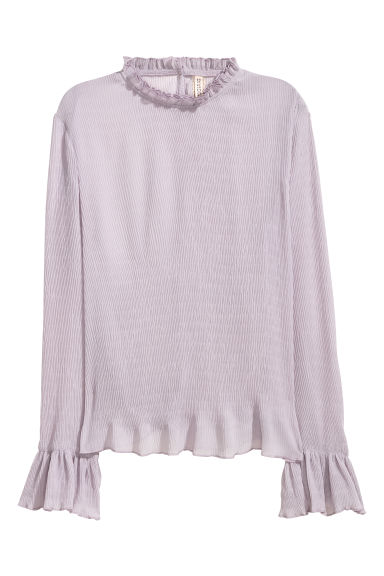 Crinkled frilled blouse - Heather purple -  | H&M