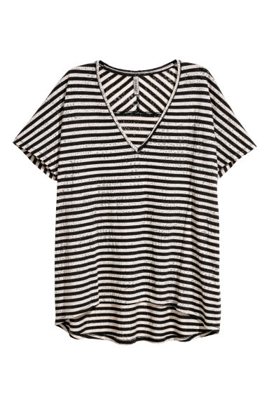 Burnout-patterned top - Beige/Black striped - Ladies | H&M GB