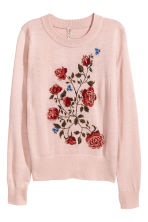 Fine-knit embroidered jumper - Powder pink - Ladies | H&M IE 2