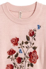 Fine-knit embroidered jumper - Powder pink - Ladies | H&M IE 3