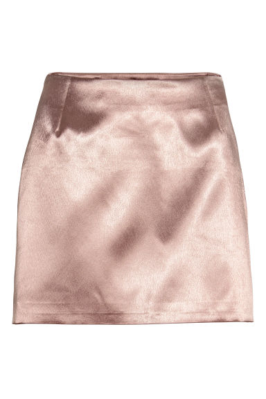 Short satin skirt - Powder pink - Ladies | H&M CN 1
