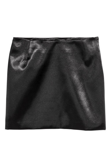 Short satin skirt - Black -  | H&M