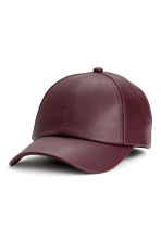 仿皮鴨舌帽 - Burgundy - Ladies | H&M 1