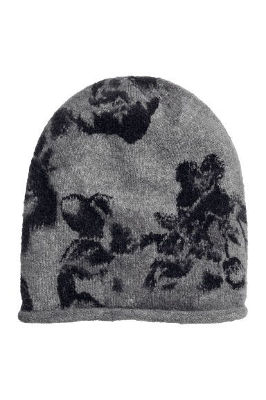Fine-knit hat - Grey/Patterned - Ladies | H&M CN 1