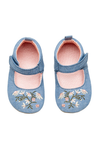 Sandals with embroidery - Denim blue - Kids | H&M 1