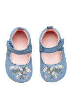 Sandals with embroidery - Denim blue -  | H&M 1