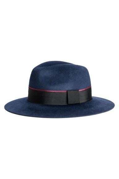 Felted wool hat - Dark blue - Ladies | H&M 1
