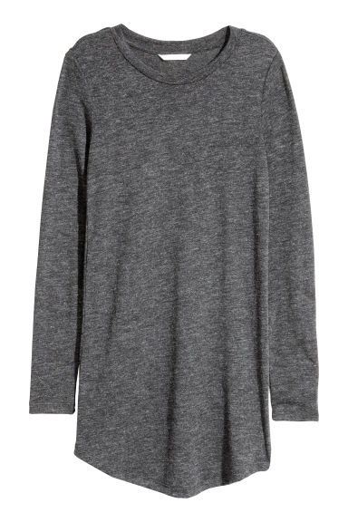 Long-sleeved jersey top - Dark grey marl - Ladies | H&M