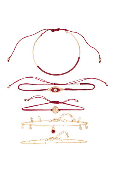 5-pack bracelets - Gold-coloured/Burgundy - Ladies | H&M GB