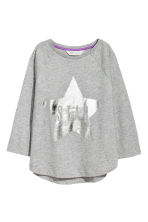 Printed jersey top - Grey marl/Star - Kids | H&M CA 2