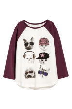 Printed jersey top - White/Burgundy - Kids | H&M CN 2