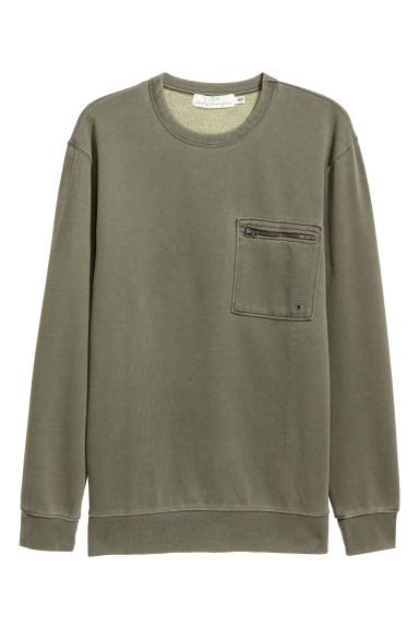 Sweatshirt with a chest pocket - Khaki green -  | H&M