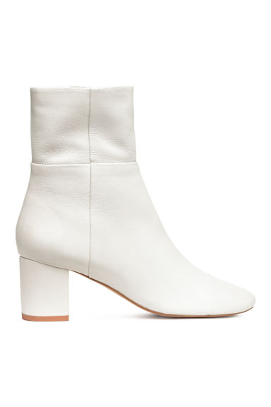 Leather ankle boots - White - Ladies | H&M CN 1