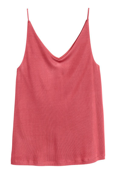 V-neck strappy top - Raspberry red - Ladies | H&M CN 1