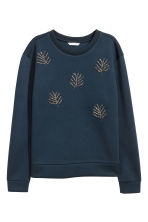 Beaded sweatshirt - Dark blue - Ladies | H&M IE 2