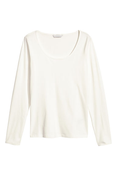 Pima cotton jersey top - White - Ladies | H&M
