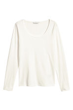 Jersey pima cotton top - White - Ladies | H&M GB 1
