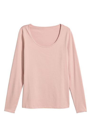 Pima cotton jersey top - Old rose - Ladies | H&M IE 1