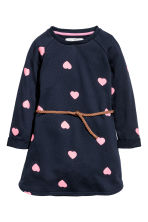 Sweatshirt dress - Dark blue/Hearts -  | H&M CN 2