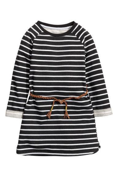Sweatshirt dress - Black/White striped -  | H&M CN 1