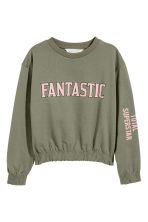 Sweatshirt with smocking - Khaki green - Kids | H&M 2