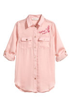 Shirt with embroidered motif - Light pink -  | H&M CN 2