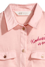 Shirt with embroidered motif - Light pink -  | H&M CN 3