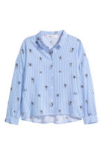 Printed blouse - Light blue/White striped -  | H&M 2