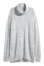 Knitted polo-neck jumper - Light grey marl - Ladies | H&M 2