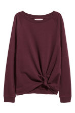 Knot-detail sweatshirt - Burgundy - Ladies | H&M 2