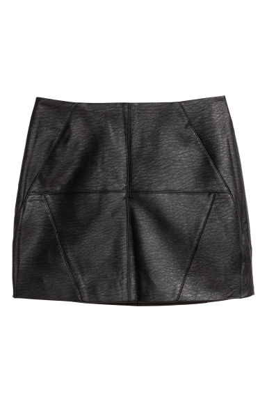 Short skirt - Black/Imitation leather - Ladies | H&M