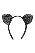 Alice band with ears - Black/Sequins -  | H&M 1