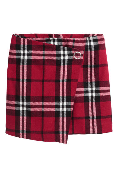 Short wrap skirt - Red/Checked - Ladies | H&M