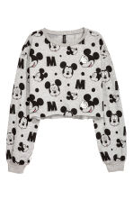 Cut-off Sweatshirt - Gray melange/Mickey Mouse - Ladies | H&M CA 2