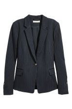 Single-breasted jacket - Dark blue/Pinstriped - Ladies | H&M CN 2