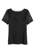 Top with lace - Black - Ladies | H&M 2