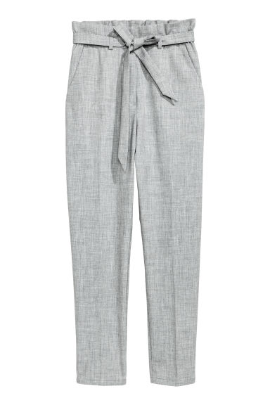 Paper bag trousers - Light grey marl - Ladies | H&M IE 1